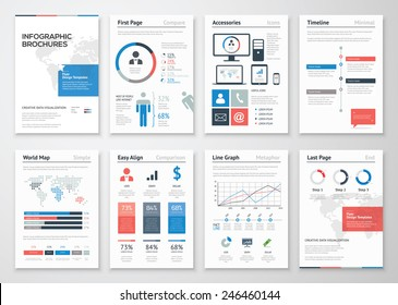 Infographic brochure elements collection for business data visualization. Vector illustration of modern info graphic metaphor in a flyer concept, use for marketing, website, print, presentation etc