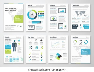 Infographic brochures for business data visualization. Vector illustration of modern info graphic metaphor in a flyer concept, that can be used for marketing, websites, print, presentation etc.