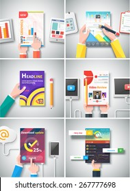 Infographic business brochure banner analytics strategy with hands. Modern stylized graphics data visualization. Use for web banners marketing and promotional materials, flyers, presentation templates