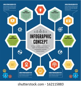 Infographic Business Concept - creative vector banners with hexagon information blocks and icons.