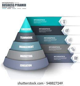 Infographic business data visualization vector design template. Can be used for steps, options, parts or processes, workflow, diagram, pyramid concept, marketing icons, info graphics.