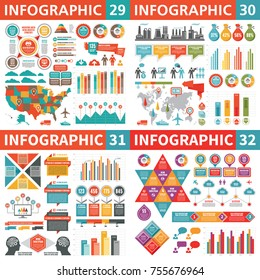 Infographic business design elements - vector illustration. Infograph template collection. World and USA maps. Industrial factory icons. Creative graphic set.
