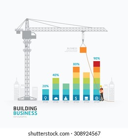 Infographic business graph template design.building to success concept vector illustration / graphic or web design layout.