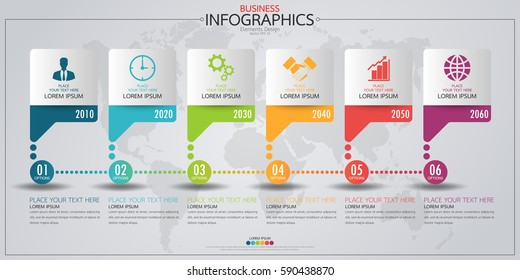 Infographic business horizontal timeline process chart template. Vector modern banner,text box used for presentation and workflow layout diagram,web design. Abstract elements of graph 6 steps options.