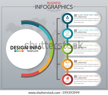 Infographic Business Horizontal Timeline Process Chart Stock Vector - Process chart template