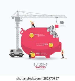 Infographic business piggy bank shape template design.building to success concept vector illustration / graphic or web design layout.
