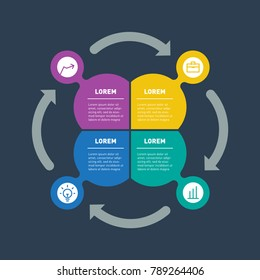 Infographic or Business presentation with 4 options. Vector dynamic infographics or mind map of technology or education process with 4 steps. Web Template of a chart, cyclical process, mindmap.