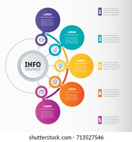 Infographic or Business presentation with 5 options. Vector dynamic infographics or mind map of technology or education process with 5 steps. Web Template of a chart, mindmap or diagram