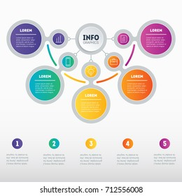 Infographic or Business presentation with five options. Vector dynamic infographics or mind map of technology or education process. Web Template of a chart, mindmap or diagram with 5 steps.