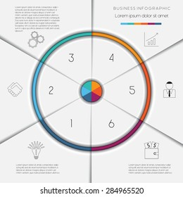 Infographic business process or workflow template with text areas on 6 positions