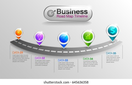infographic Business roadmap timeline 5 options, Business concept infographic template can be used for workflow layout, diagram, number options,step Used for illustrations.