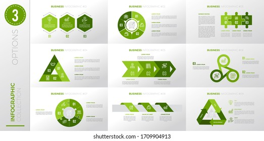Infographic business template with 3 options. Green color version.