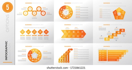 Infographic business template with 5 options. Yellow color version.