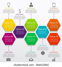 Infographic business template with icons and text. Concept with 8 options, parts, steps or processes. Can be used for workflow layout, diagram, number options, web design