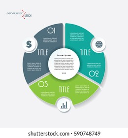 Infographic business template for project or presentation with 3 segments and circle. Vector illustration can be used for web design, workflow or graphic layout, diagram, education