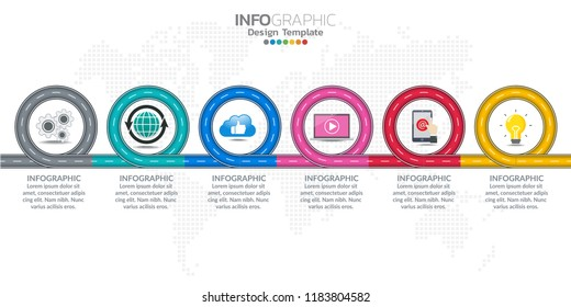 Infographic business timeline design template with options and text label.