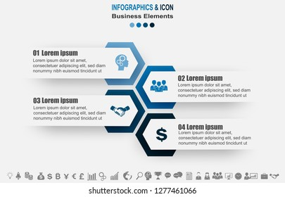Infographic business timeline process chart template.  marketing icons can be used for workflow layout, report, . Business concept with 4 options, steps or processes. Vector