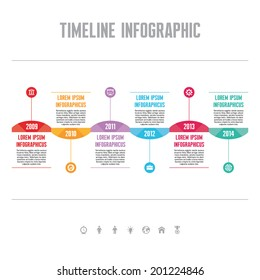 Infographic business vector concept in flat style - timeline template for presentation, booklet, web and other creative design projects.