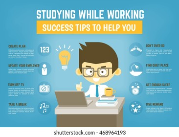 Infographic cartoon character about success tips for studying while working
