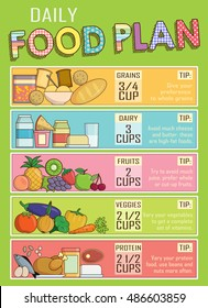 infographic chart, illustration of a healthy daily nutrition food plan  proportions  shows healthy food