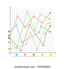 Infographic chart random changing graphs on system of axes with color arrows vector illustration on checkered backdrop isolated on white background