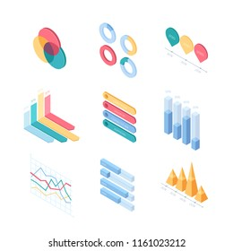 Infographic charts and diagrams - set of modern vector isometric elements isolated on white background. High quality colorful images of different graphs, round, triangular, line, histogram, pareto