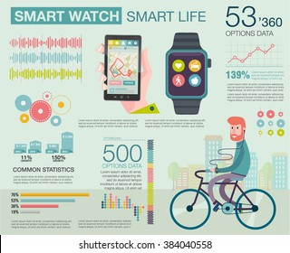 Infographic with charts, icons, diagrams. How people use smartwatch and smartphone. Modern technology equipment for monitoring health. Man on bike go to work. Vector illustration, flat modern style