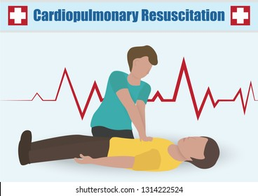 Infographic of Chest Compressions in Cardiopulmonary Resuscitation (CPR) Emergency Rescue Process on Human Heart Attack Man , One Part of the Important Process Resuscitation - Healthcare Concept