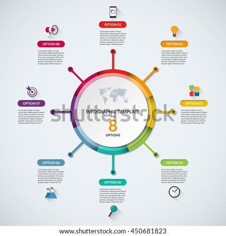Infographic circle diagram template business concept stock vector infographic circle diagram template business concept with 8 steps parts options banner maxwellsz