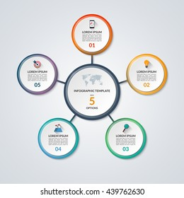 Infographic circle diagram. Vector banner with 5 steps, parts, options. Template for business infographics with the set of flat icons and design elements. Can be used for cycle diagram, round chart.