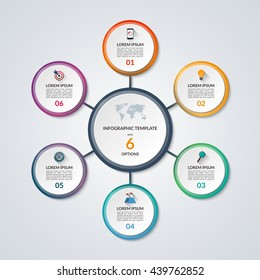 Infographic circle diagram. Vector banner with 6 steps, parts, options. Template for business infographics with the set of flat icons and design elements. Can be used for cycle diagram, round chart.