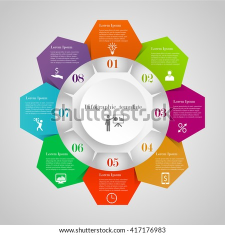 infographic circle hexagon flowchart template 8 stock vector