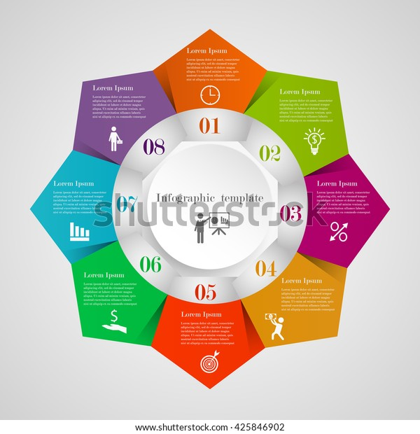 Infographic Circle Pentagon Flowchart Template 8 Stock Vector Royalty Free 425846902