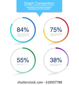 Infographic circle with percentage. Vector colorful design