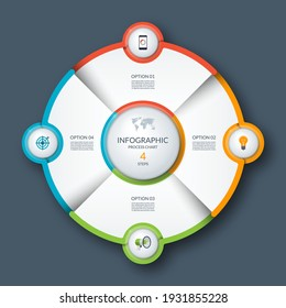 Infographic circle, process chart, cycle diagram. 4 steps. Vector template for business presentation, report, brochure.