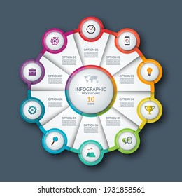 Infographic circle, process chart, cycle diagram. 10 steps. Vector template for business presentation, report, brochure.