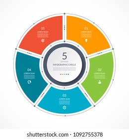 Infographic circle in thin line flat style. Business presentation template with 5 options, parts, steps. Vector illustration