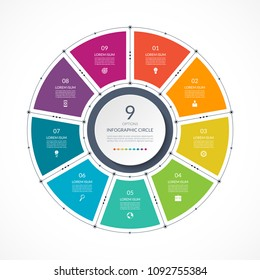 Infographic circle in thin line flat style. Business presentation template with 9 options, parts, steps. Vector illustration