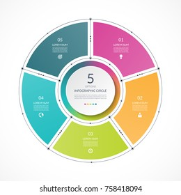 Infographic circle in thin line flat style. Business presentation template with 5 options, parts, steps. Can be used for cycle diagram, graph, round chart.