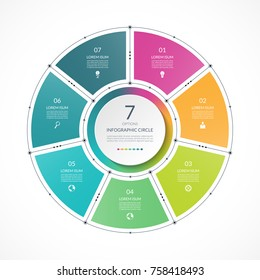 Infographic circle in thin line flat style. Business presentation template with 7 options, parts, steps. Can be used for cycle diagram, graph, round chart.