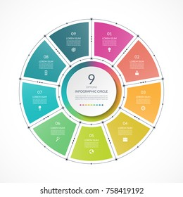 Infographic circle in thin line flat style. Business presentation template with 9 options, parts, steps. Can be used for cycle diagram, graph, round chart.