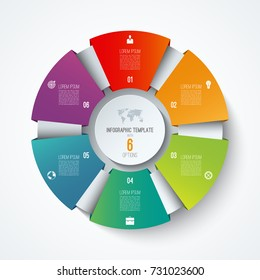 Infographic circle. Vector pie chart. Business concept with 6 options