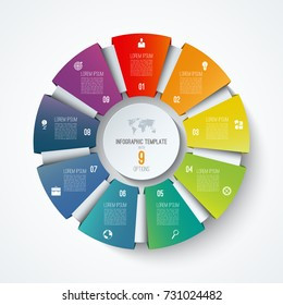 Infographic circle. Vector pie chart. Business concept with 9 options