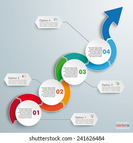 Infographic with circles and wave arrow  on the gray background. Eps 10 vector file.