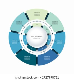 Infographic circular chart divided into 7 parts. Step-by step cycle diagram with seven options designed for report, presentation, data visualization.