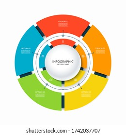 Infographic circular chart divided into 5 parts. Step-by step cycle diagram with five options designed for report, presentation, data visualization.