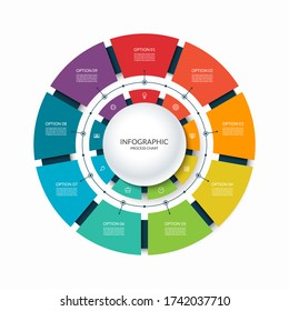 Infographic circular chart divided into 9 parts. Step-by step cycle diagram with nine options designed for report, presentation, data visualization.