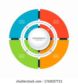 Infographic circular chart divided into 4 parts. Step-by step cycle diagram with four options designed for report, presentation, data visualization.