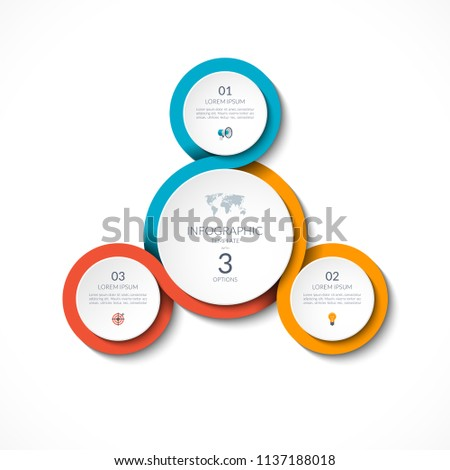 infographic circular template 3 options can stock vector royalty
