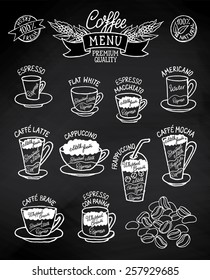 Infographic with coffee types and their preparation on blackboard. For cafe menu, brochure, fliers, chalkboard. Retro style. Black&white